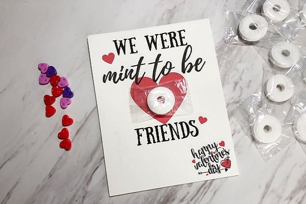 mint to be friends Valentine card