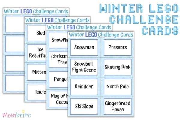 winter LEGO challenge cards mockup