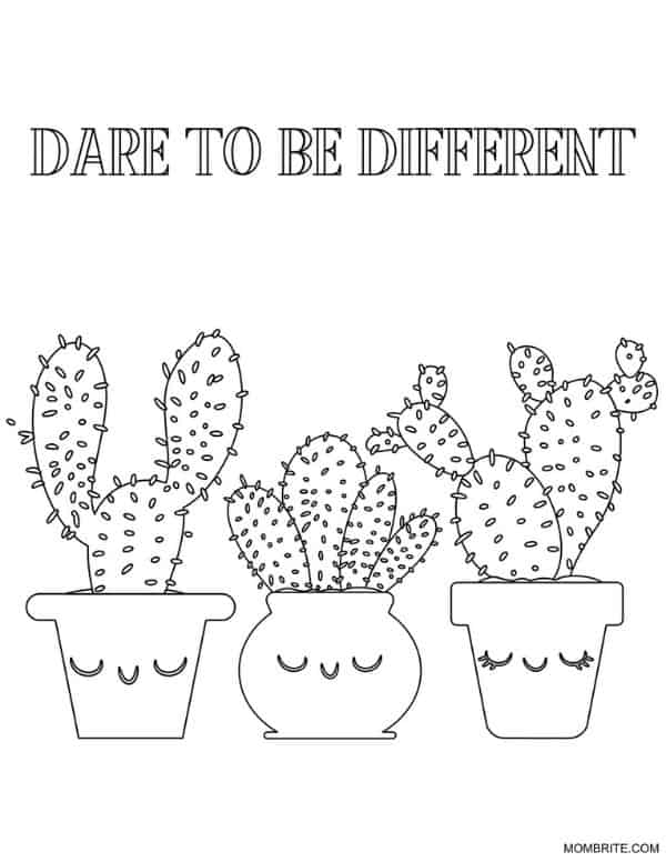 Cactus Coloring Page Dare to be Different