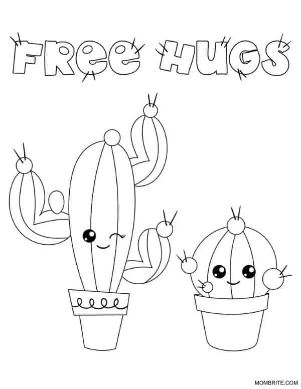 Cactus Coloring Page Free Hugs