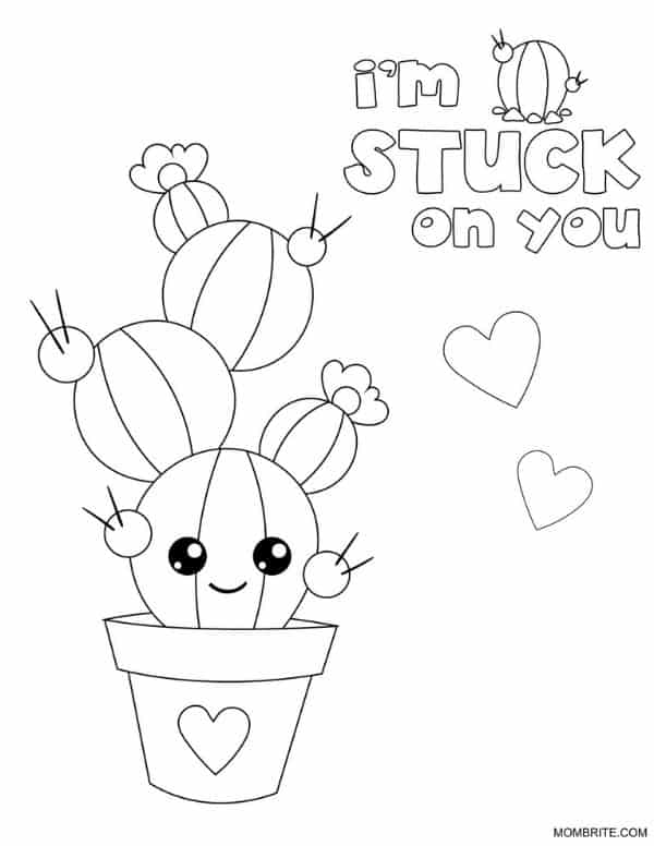 Cactus Coloring Page Stuck on You