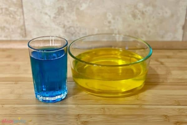 Color Changing Water Experiment Yellow Blue