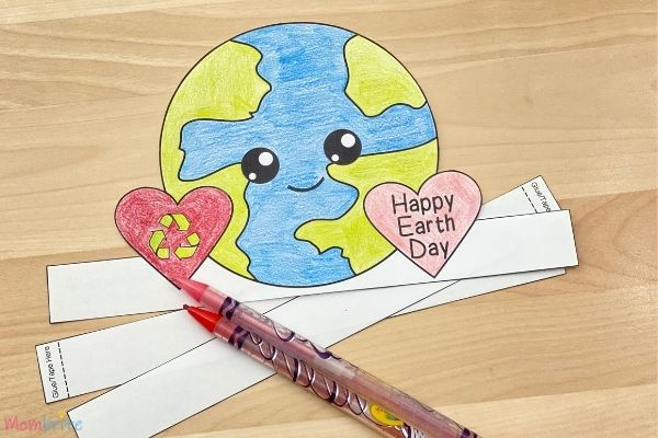 Earth Day Hat Template Color Recyclable Heart