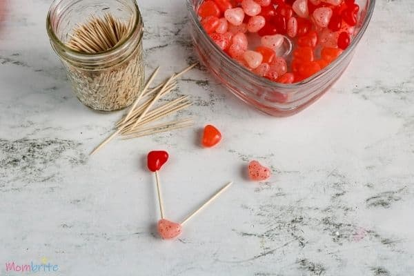 Heart Jelly Bean Toothpick Structure-Building