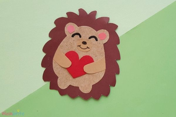 Heart Paper Hedgehog Craft (1)