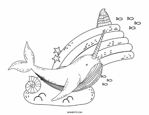 Narwhal and Rainbow Coloring Sheet