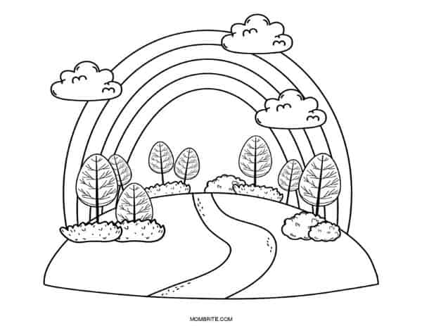 Nature and Rainbow Coloring Page