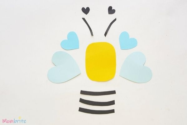 Paper Heart Bee Craft Step 3