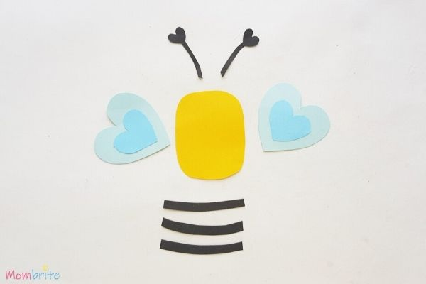 Paper Heart Bee Craft Step 4