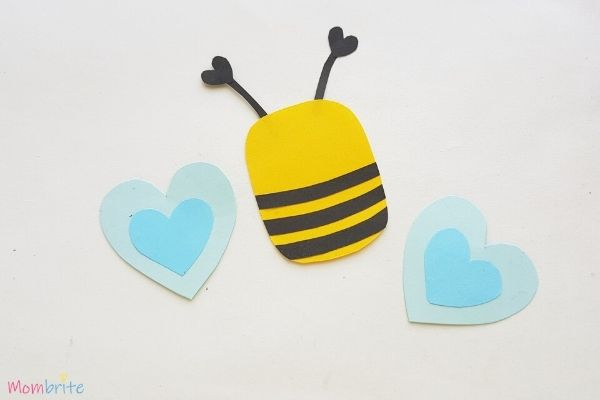 Paper Heart Bee Craft Step 6