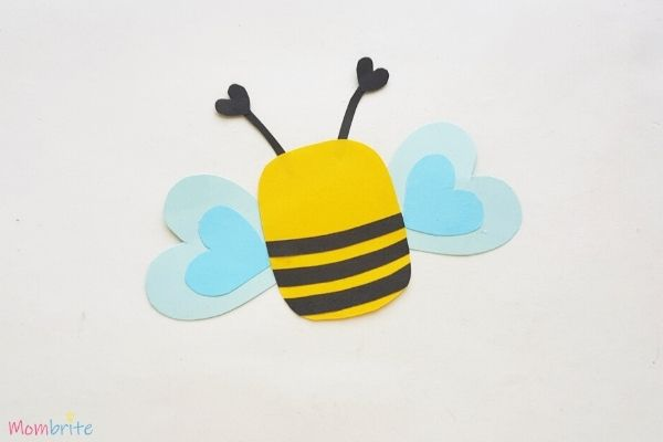 Paper Heart Bee Craft Step 7
