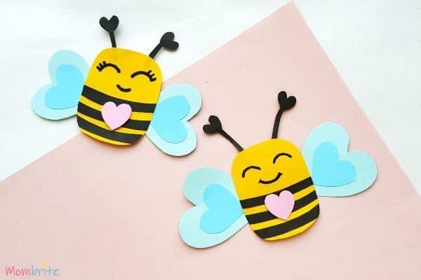 Paper Heart Bee Craft