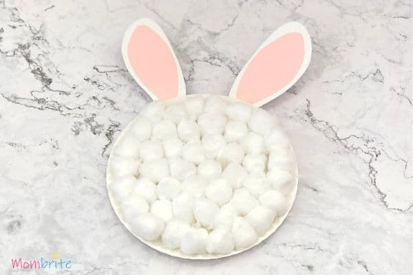 Paper Plate Bunny Cotton Balls on Plate