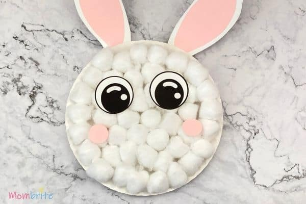 Paper Plate Bunny Eyes and Cheeks on Cotton Balls