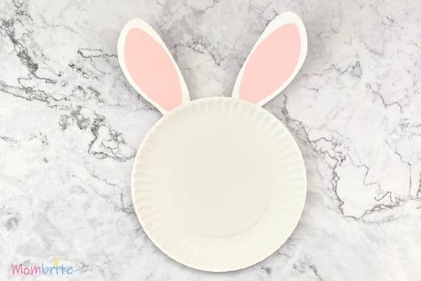 Paper Plate Bunny Glue Ears on Plate