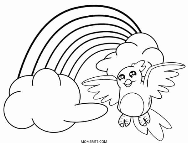 Rainbow Coloring Page with Bird