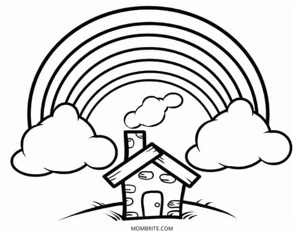 Rainbow Coloring Page with Brick House