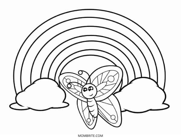 Rainbow Coloring Page with Butterfly