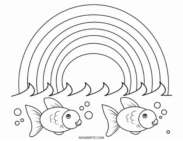 Rainbow Coloring Page with Fish