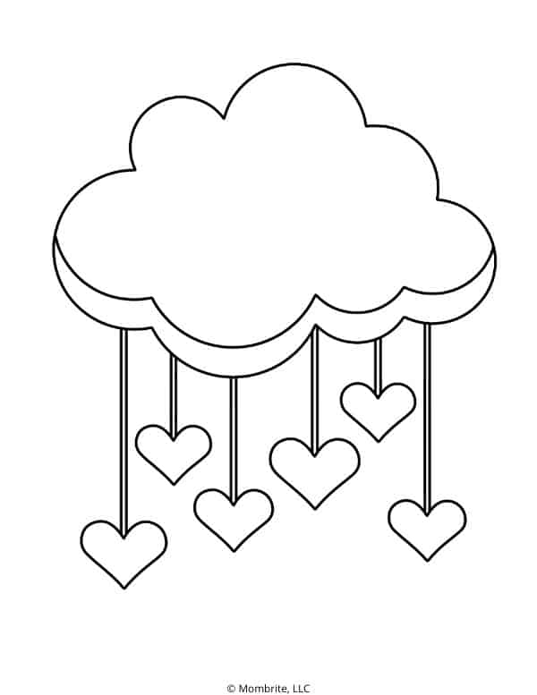 Raining Heart Coloring Page