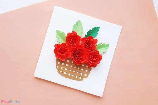 Rolled Rose Flower Basket Card (1)