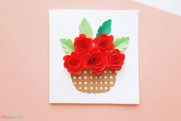 Rolled Rose Flower Basket Card