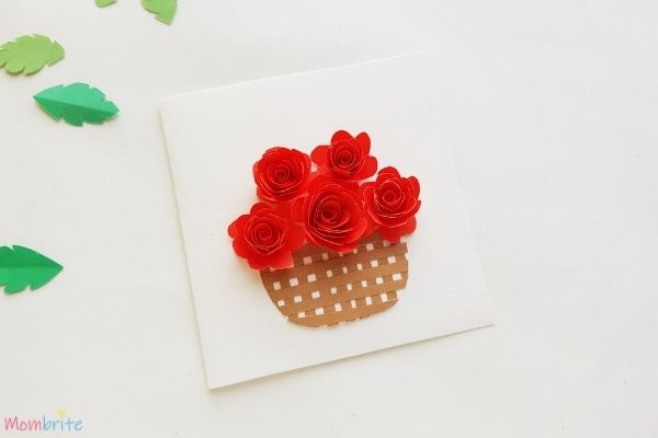 Rolled Rose Flower Basket Glue Roses on the Card