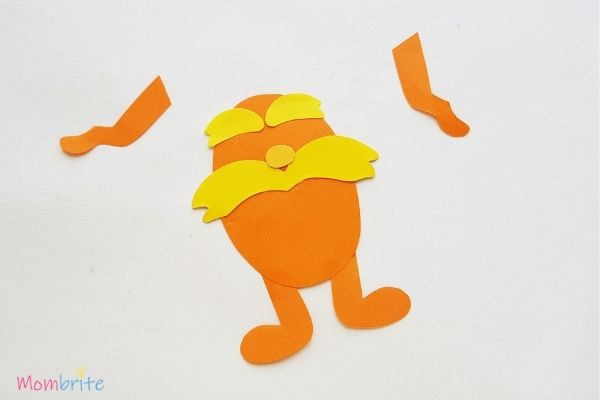 The Lorax Paper Craft Glue Nose and Eyebrows