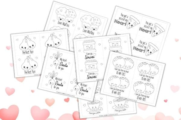 Valentine's Day Coloring Cards Mockup