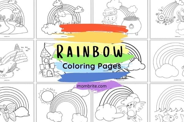 rainbow coloring pages mockup