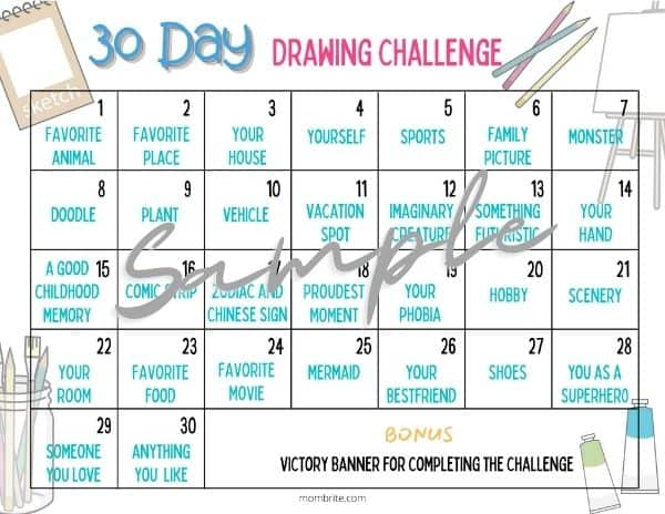 30 Day Drawing Challenge Calendar Sample