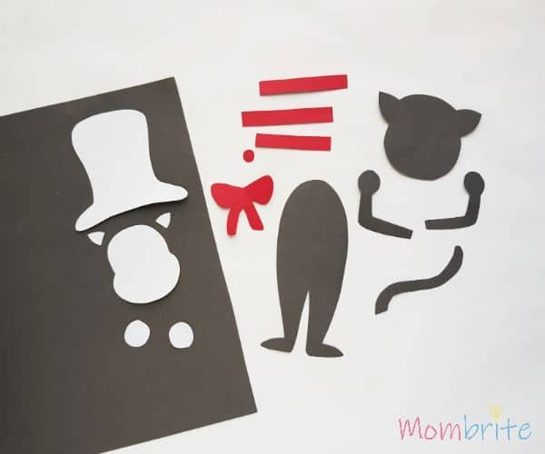 Cutting traced patterns - Cat in the Hat Puppet