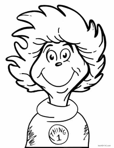 Dr. Seuss Coloring Page Thing 1