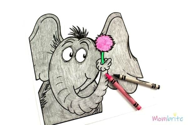 Dr. Seuss Coloring Pages Horton Colored by Crayons