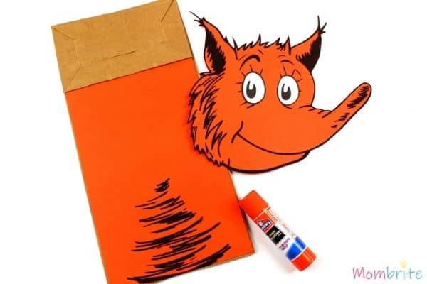 Fox in Socks Paper Bag Puppet Craft Glue Body