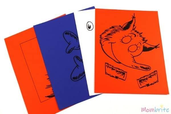 Fox in Socks Paper Bag Puppet Craft Print Pattern