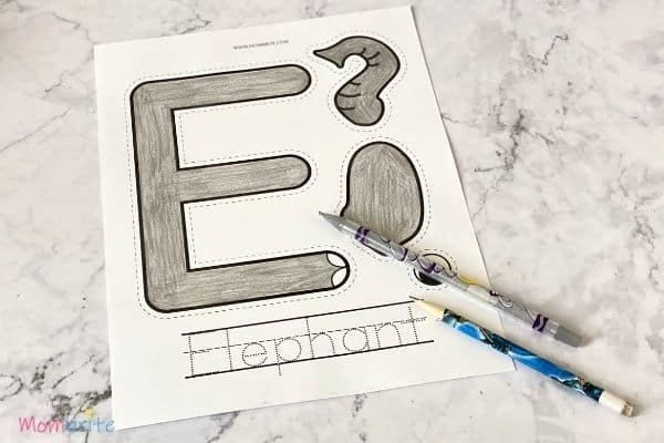 Letter E Craft Elephant Color Template