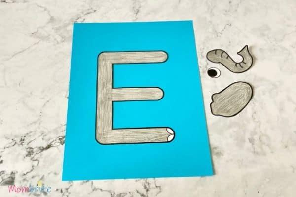 Letter E Craft Elephant Glue E Outline