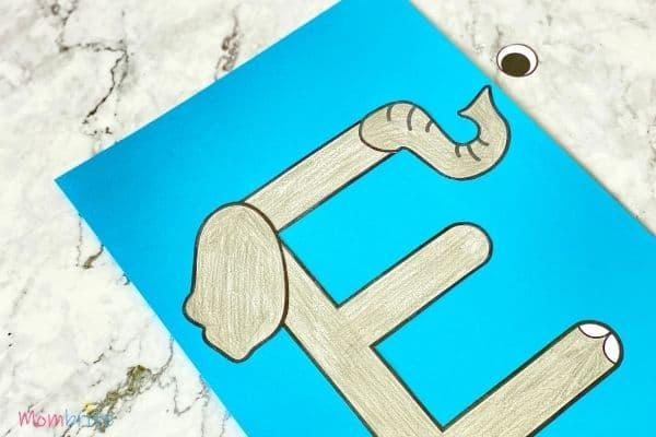 Letter E Craft Elephant Glue Ear