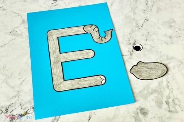 Letter E Craft Elephant Glue Nose