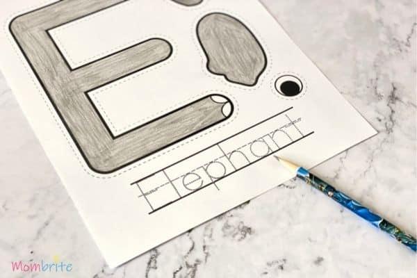Letter E Craft Elephant Write Word