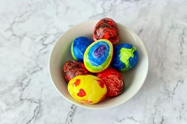 Melted Crayon Easter Eggs in Bowl