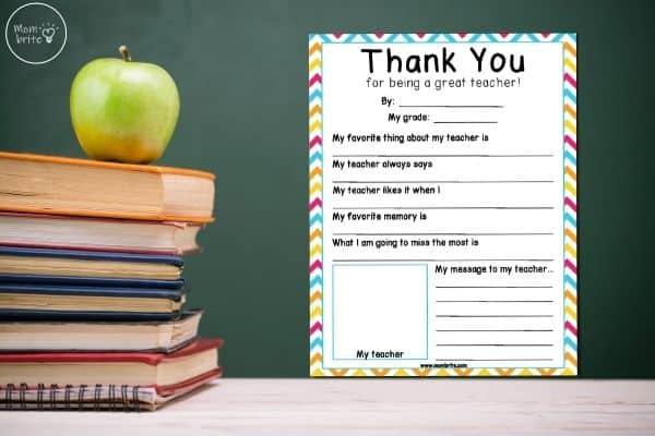 Teacher Appreciation Thank You Printable
