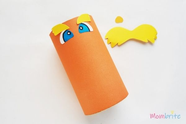 The Lorax Paper Toilet Paper Roll Craft Glue Eyes and Eyebrows