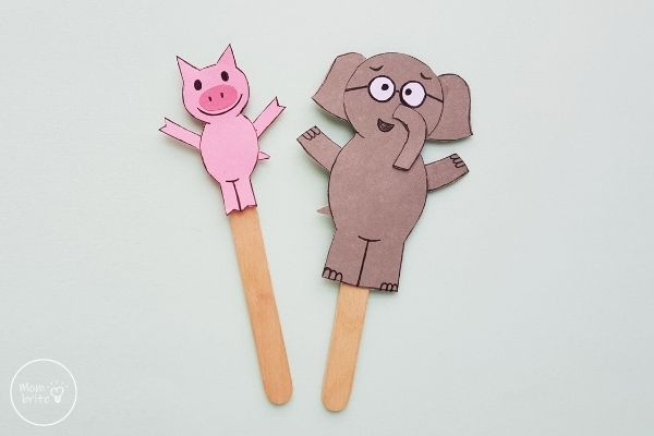 Elephant & Piggie Puppet Craft
