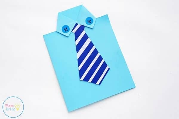 Father's Day Tie Card Glue Buttons on Shirt