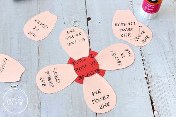 Mothers Day Flower Craft Glue Petals on Circle