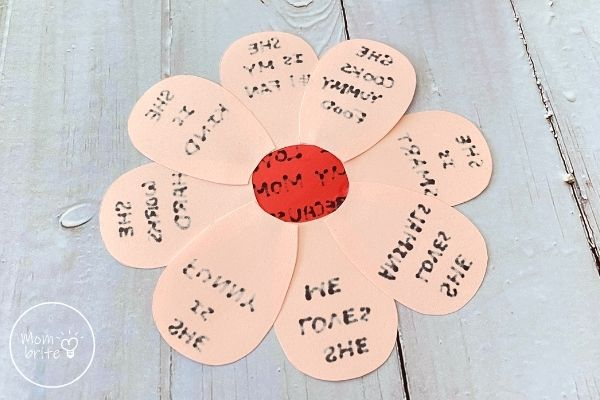 Mother's Day I Love You Because Craft Glue Petals