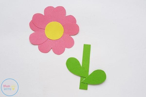 Mother's Day Pop Up Card Glue Leaves on Stem