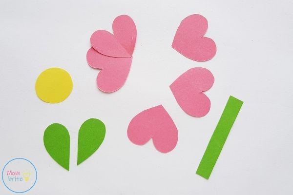 Pop Up Mother's Day Card Glue Heart Flower Petals